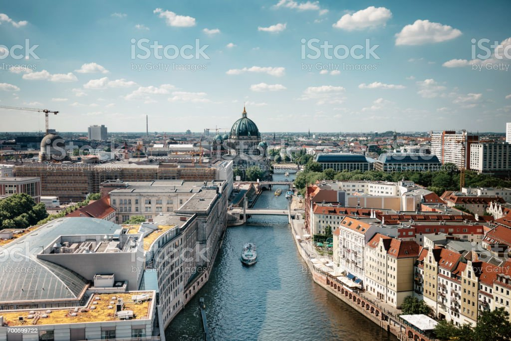 aerial view on central berlin with Berlin Cathedral and Spree River stock photo