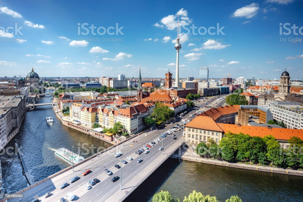 aerial view on central berlin with Tv-Tower and river stock photo