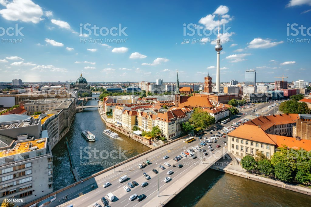 aerial view on central berlin with Tv-Tower and river Spree stock photo