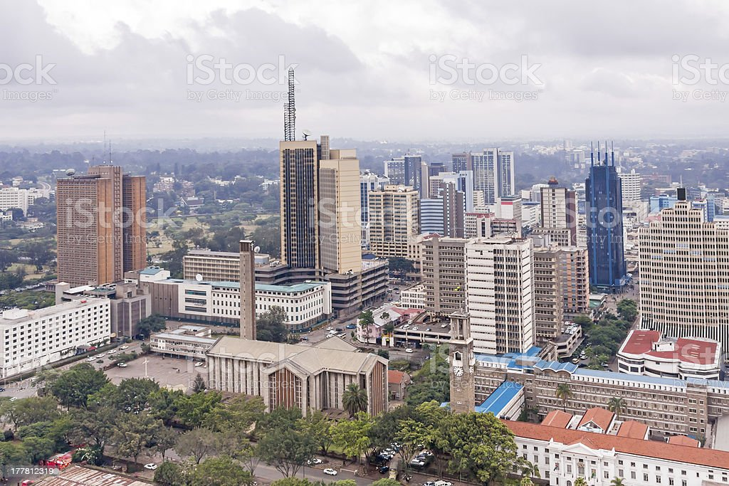 Aerial view on central business district of Nairobi stock photo