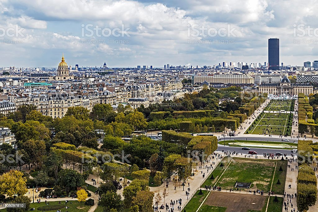 Aerial view on Champ de Mars from Eiffel tower. Paris stock photo