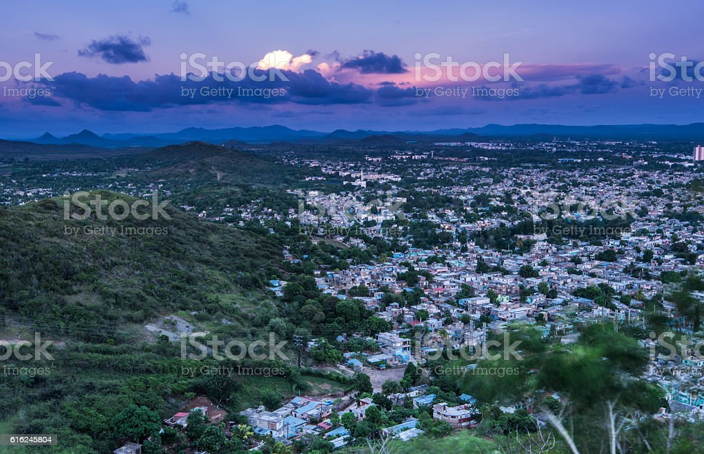 Aerial view on city of Holguin in Cuba stock photo