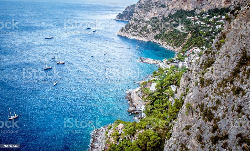 Aerial view on coast of Capri Island in Italy stock photo