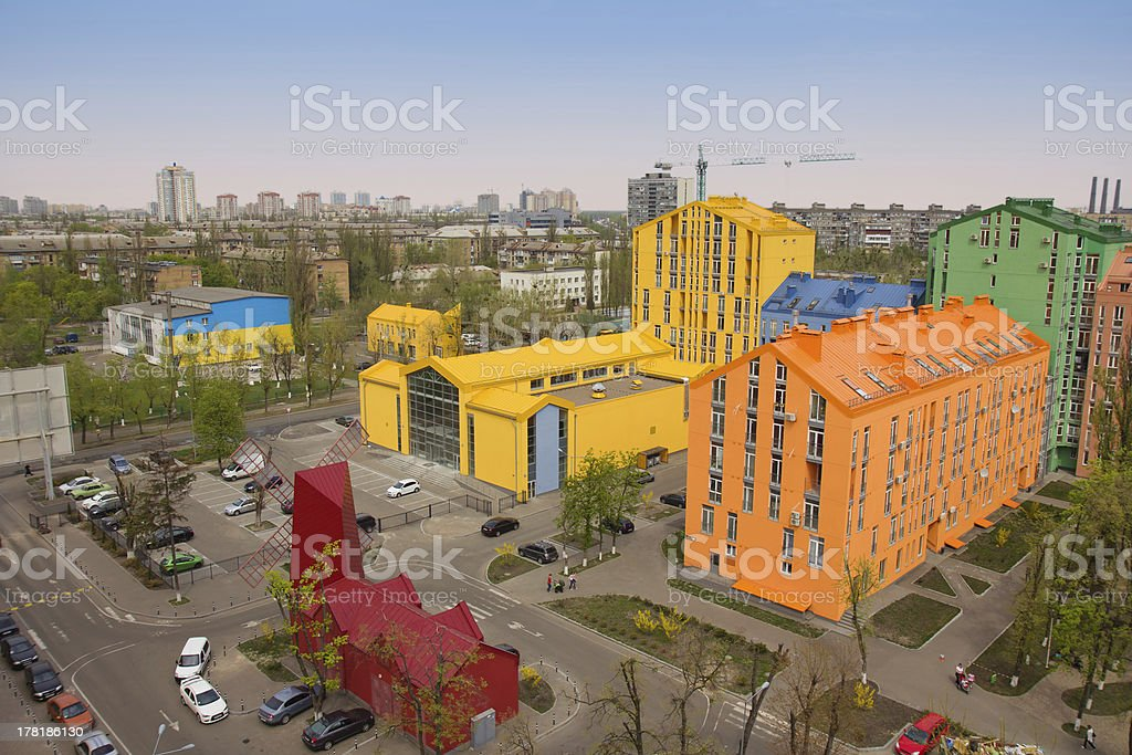 Aerial view on colorful residential buildings royalty-free stock photo
