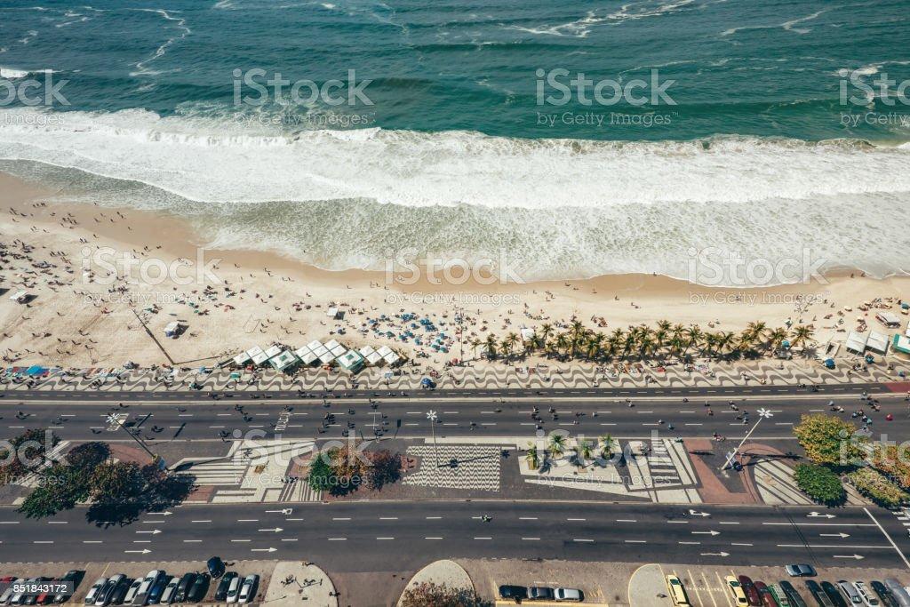 aerial view on Copacanana beach in Rio de Janeiro with street stock photo