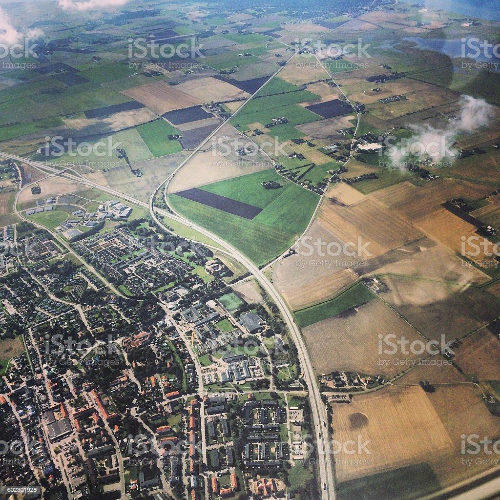 Aerial view on Copenhagen suburbs, Denmark stock photo