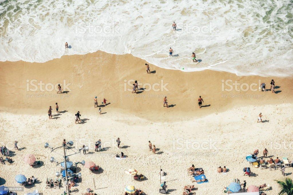 aerial view on crowded Copacanana beach in Rio de Janeiro stock photo