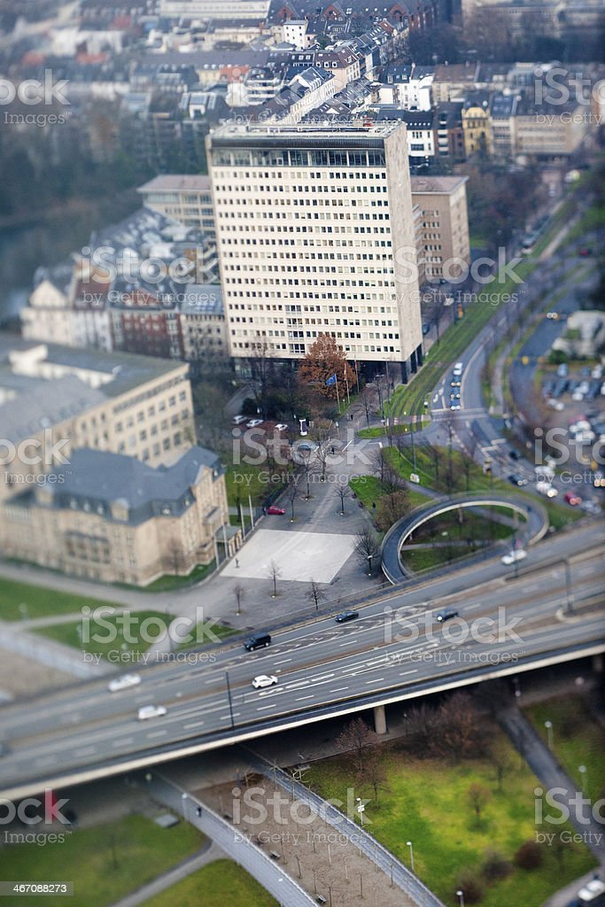 aerial view on Dusseldorf Germany stock photo