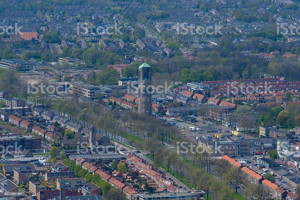 Aerial view on Emmeloord in The Noordoostpolder, The Netherlands stock photo