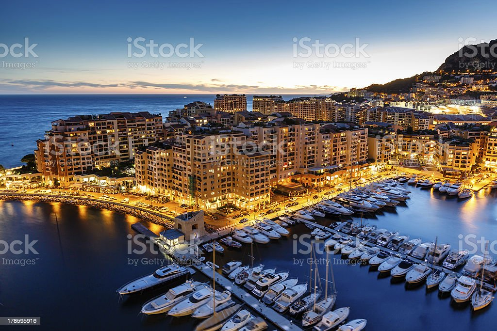 Aerial View on Fontvieille and Monaco Harbor with Luxury Yachts stock photo