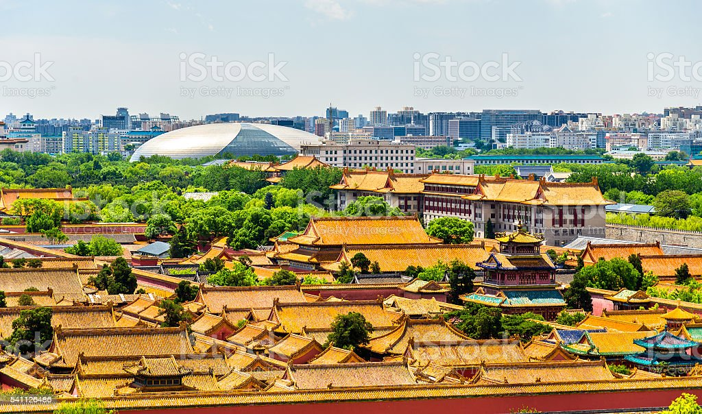 Aerial view on Forbidden City from Jingshan Park in Bejing stock photo