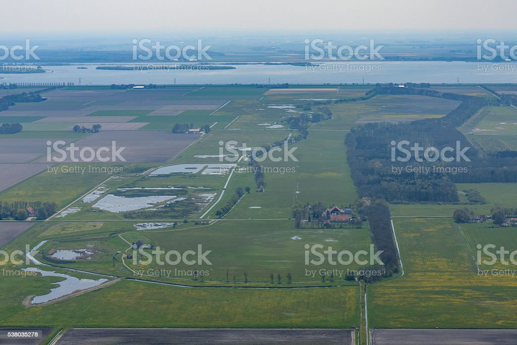 Aerial view on former island Schokland in Holland stock photo