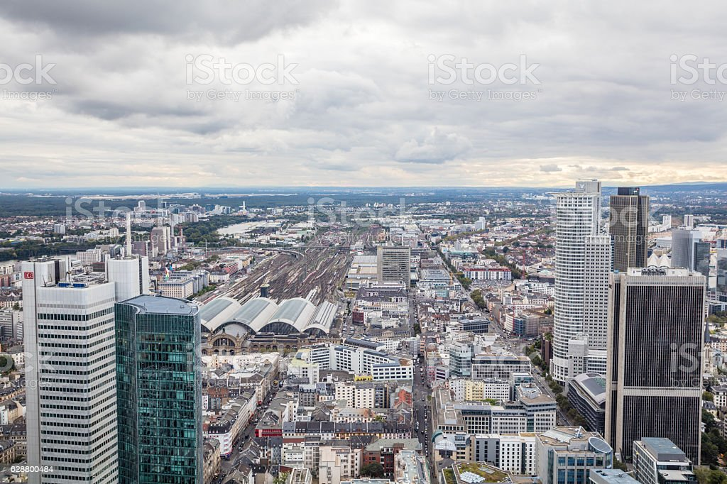 Aerial view on Frankfurt in Germany stock photo