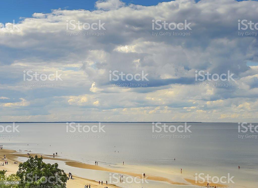 Aerial view on golden sandy beach of Jurmala royalty-free stock photo