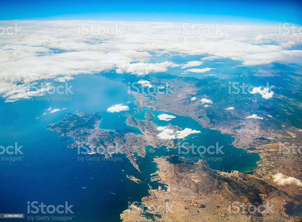 Aerial view on Greek coast. stock photo