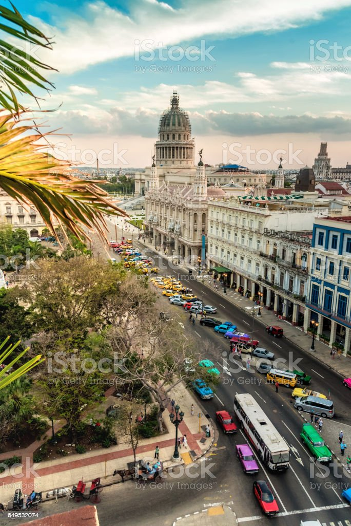 aerial view on Havanna citscape with Capitol at evening stock photo