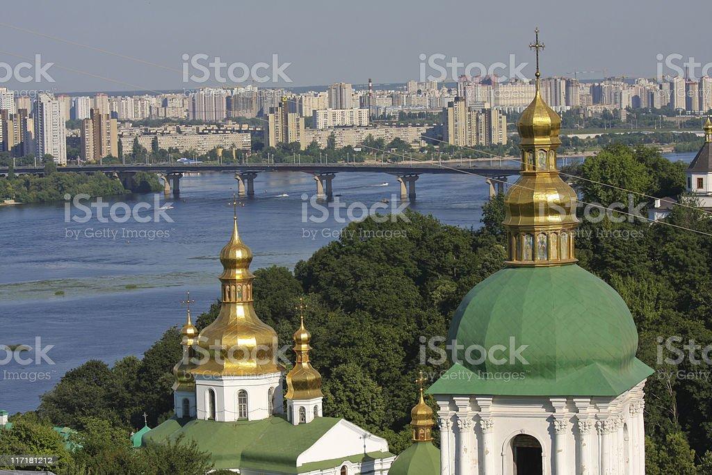 Aerial view on Kiev with Lavra monastery stock photo