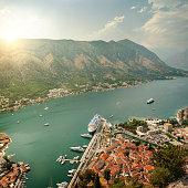 Aerial view on Kotor Bay on sunset. Resort of Montenegro.