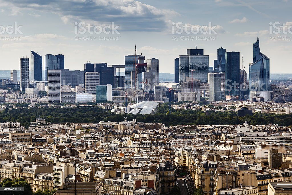 Aerial view on La Defense and it's skyscrapers in Paris stock photo