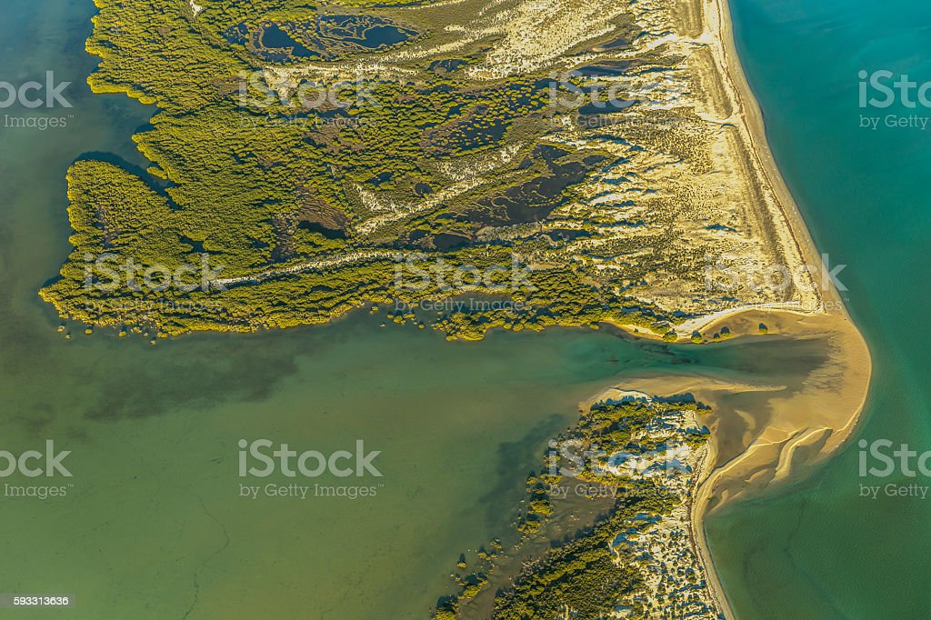 Aerial View on Lake Inlet on Faure Island stock photo