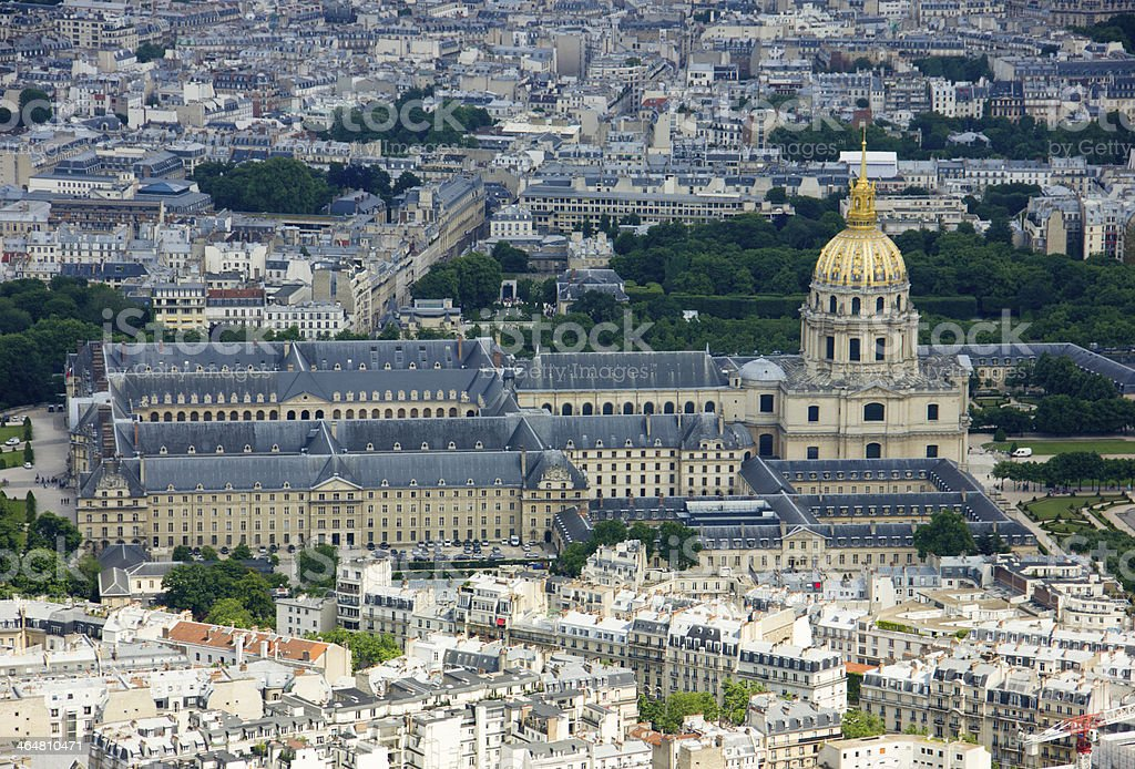 Aerial View on Les Invalides royalty-free stock photo