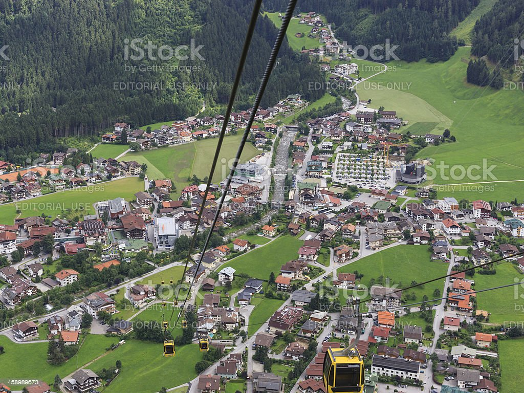 Aerial view on Mayrhofen South, Austria from a cable car stock photo
