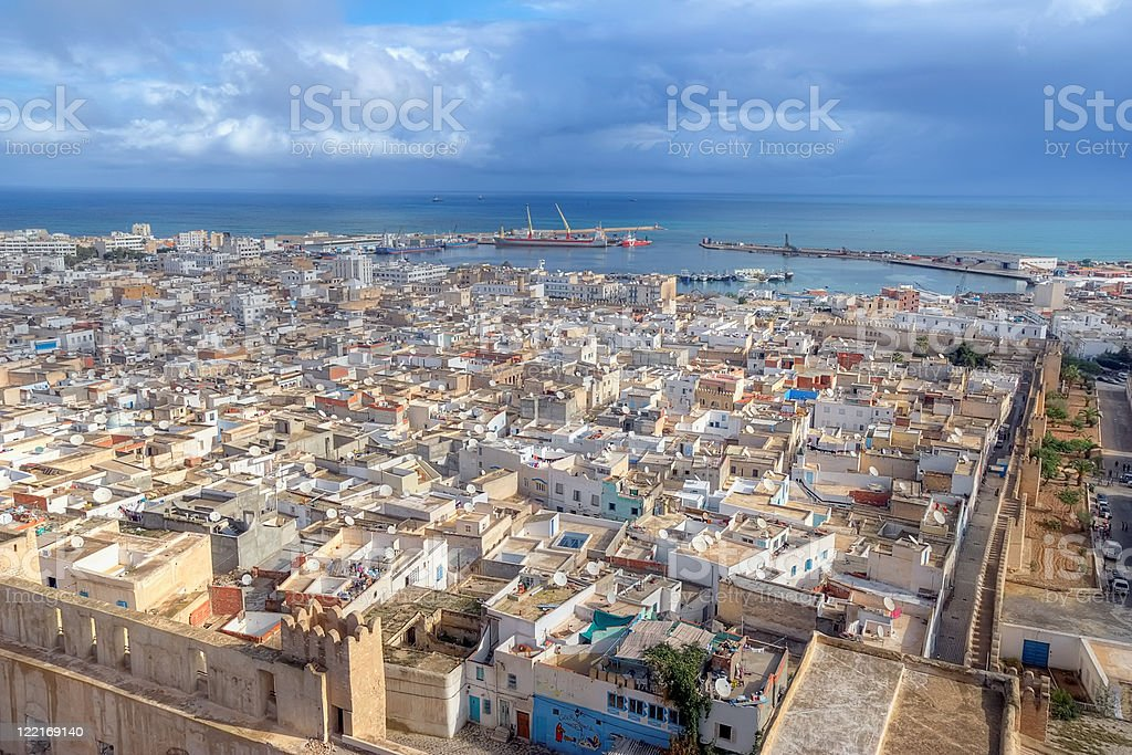Aerial view on medina in Sousse stock photo