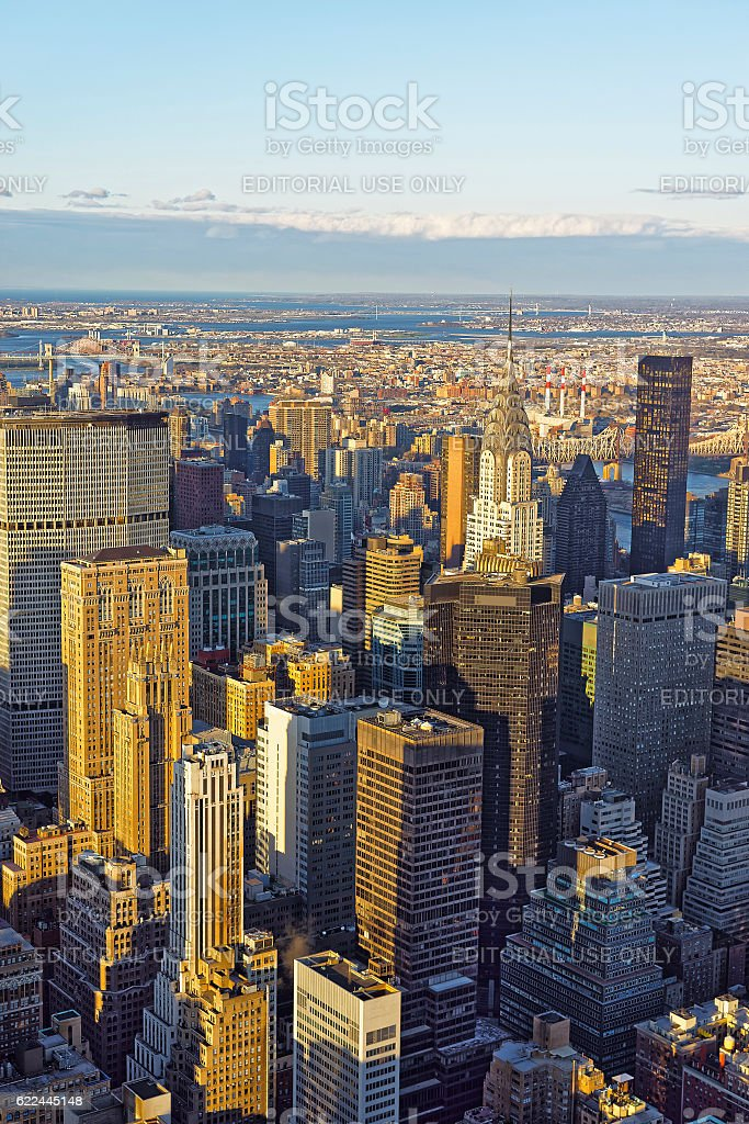 Aerial view on New York city Midtown East skyline stock photo