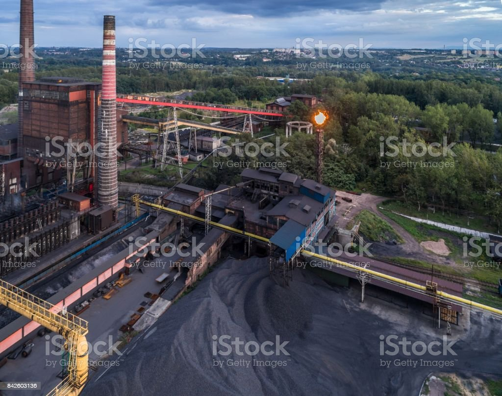 Aerial view on old working cooking plant. stock photo