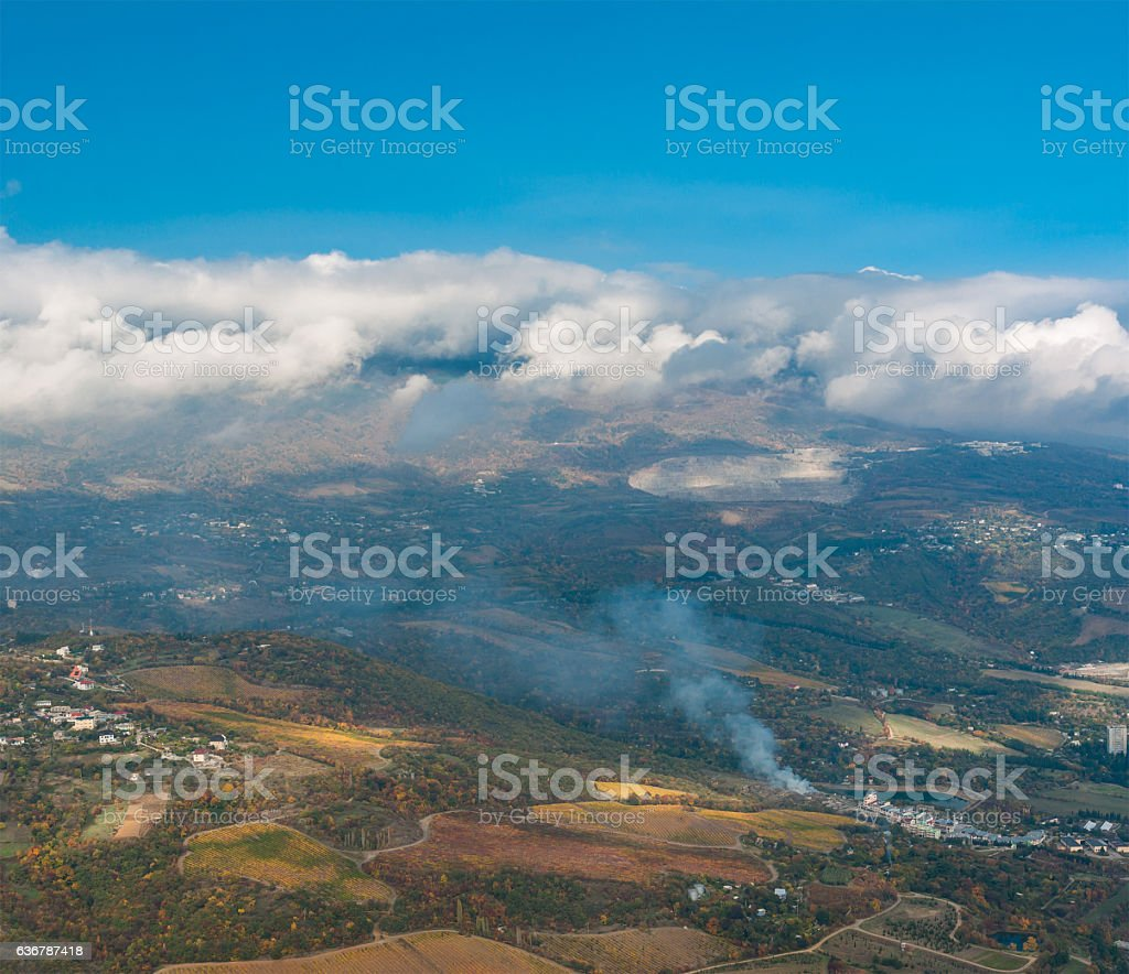 Aerial view on outskirts of Partenit resort stock photo