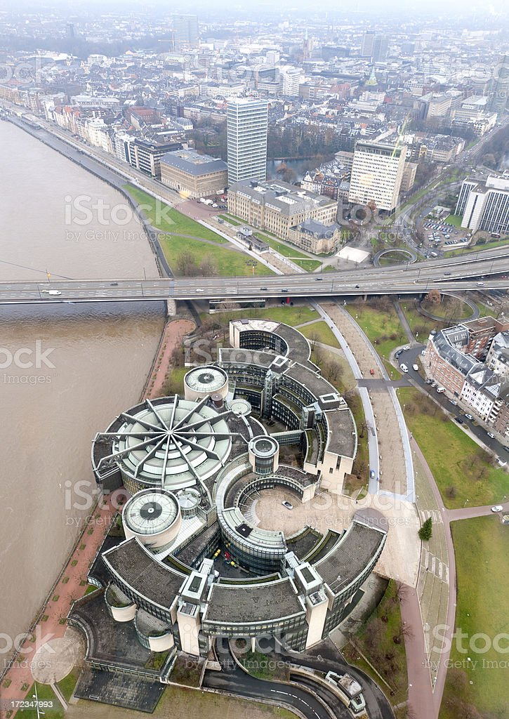 aerial view on parliament building and cityscape of Dusseldorf Germany stock photo