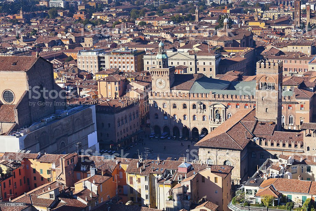aerial view on Piazza Maggiore from Asinelli tower in Bologna stock photo