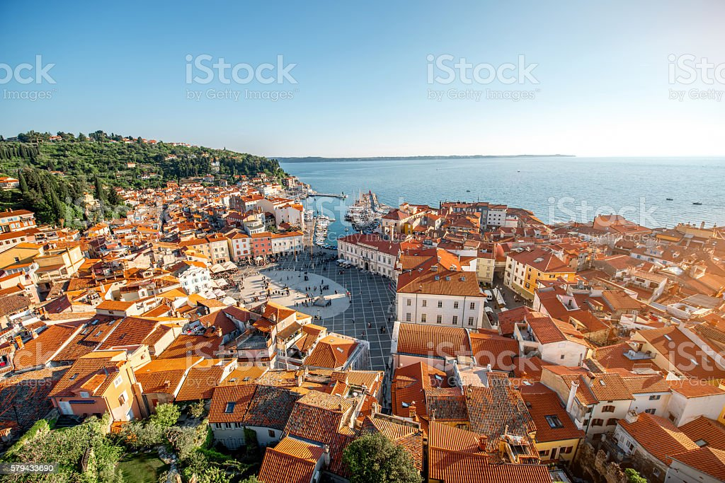 Aerial view on Piran town stock photo