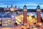Aerial View on Placa Espanya and Montjuic, Barcelona, Spain