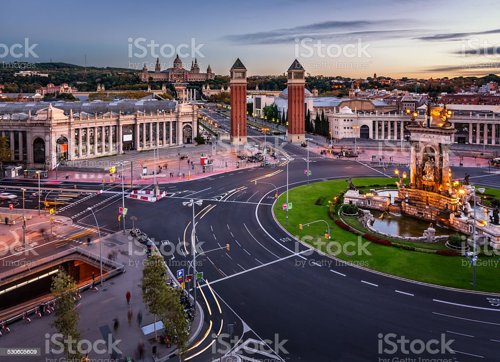 Aerial View on Placa Espanya and Montjuic Hill stock photo