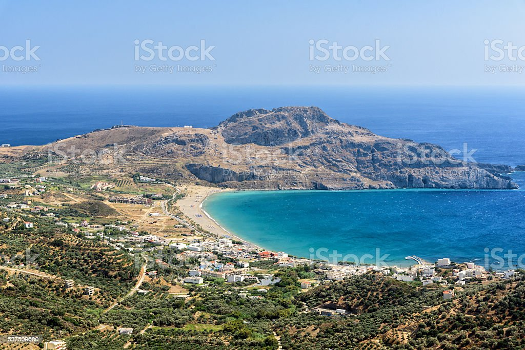 Aerial view on Plakias beach. Crete island, Greece. stock photo