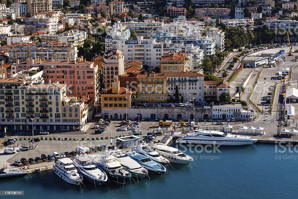 Aerial View on Port of Nice and Luxury Yachts royalty-free stock photo