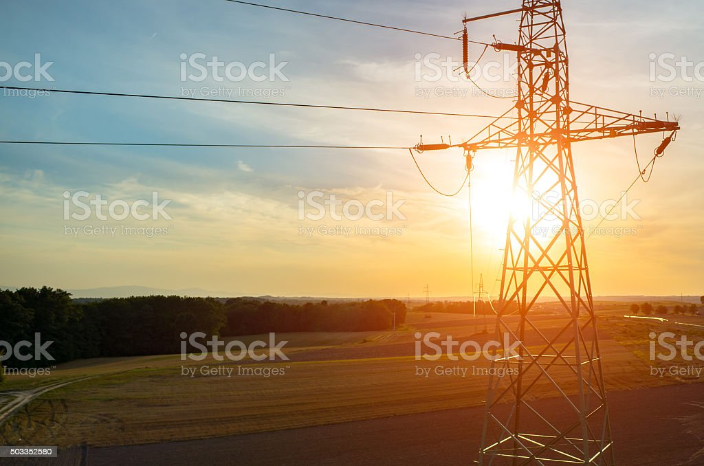 Aerial view on powerlines stock photo