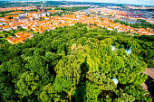 Aerial view on Prague city
