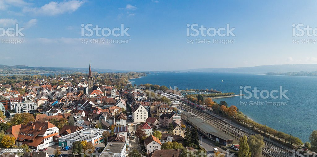 Aerial view on Radolfzell and Lake Constance stock photo