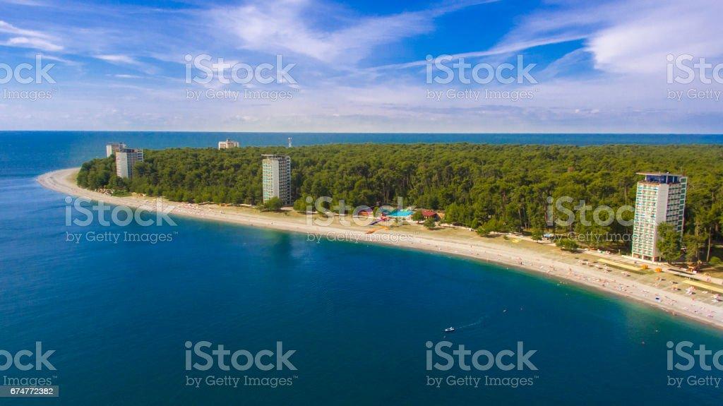 Aerial view on resort town of Pitsunda stock photo