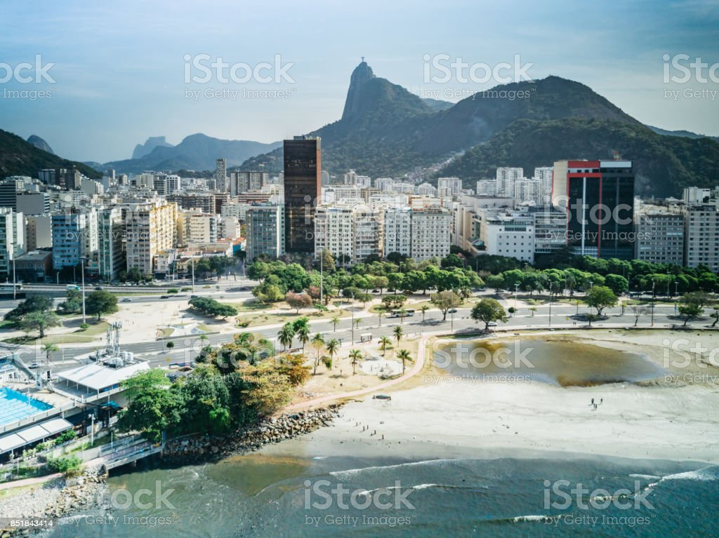 aerial view on Rio cityscape from Botafogo Bay stock photo