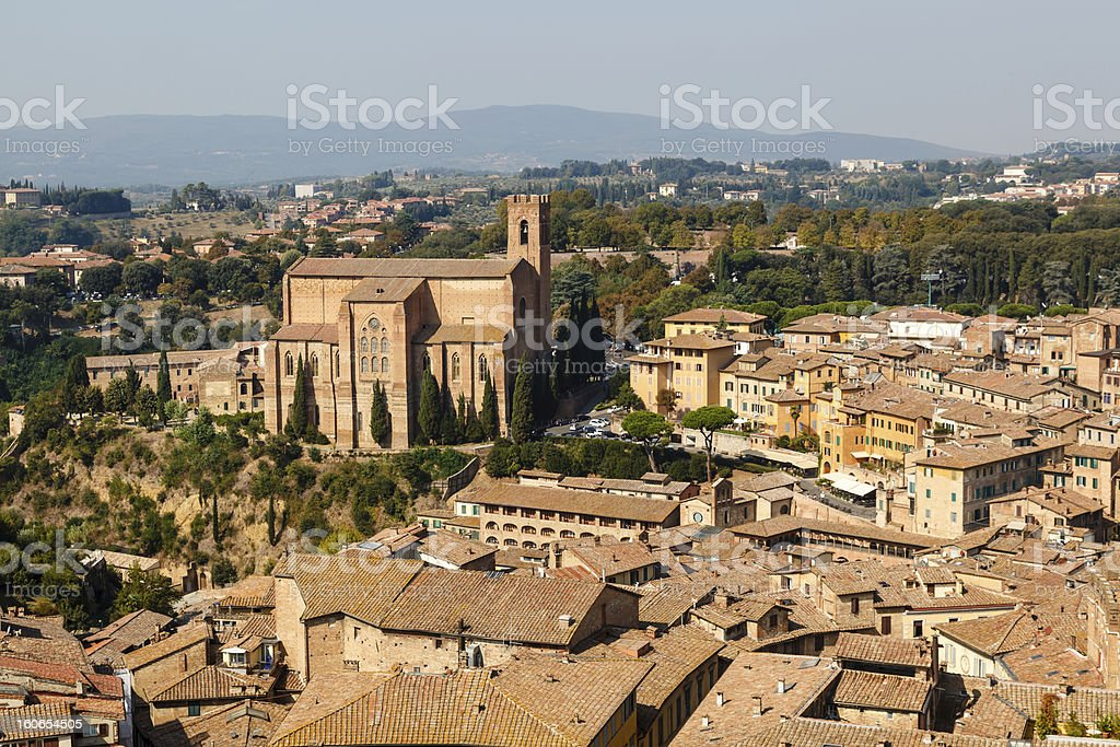 Aerial View on Rooftops and Houses of Siena, Tuscany, Italy royalty-free stock photo