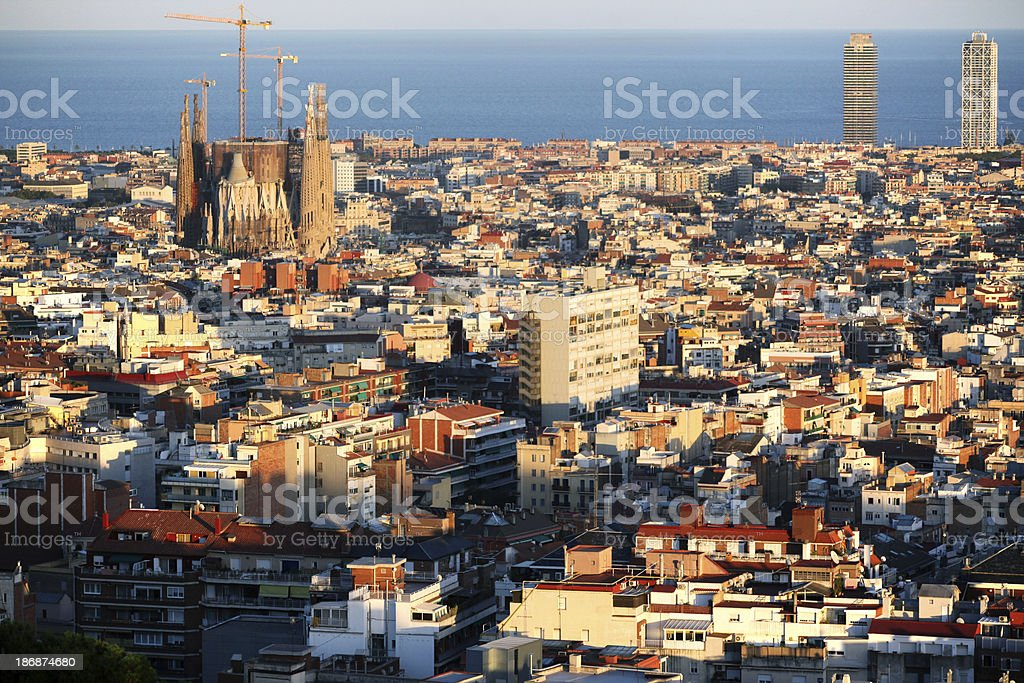 Aerial view on Sagrada Familia, Barcelona royalty-free stock photo