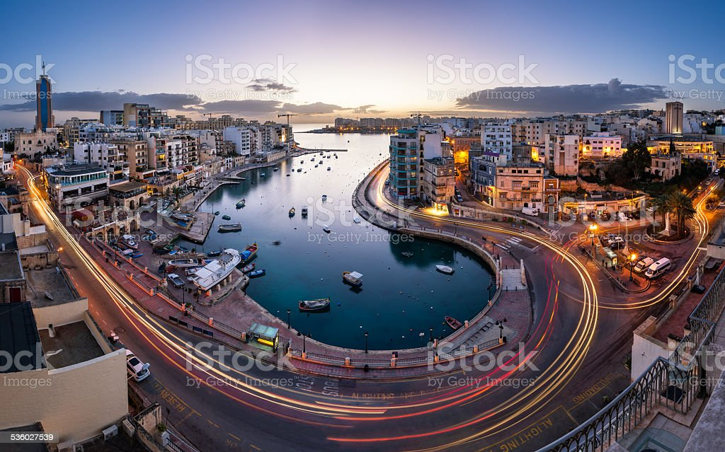Aerial View on Saint Julien and Spinola Bay at Dawn stock photo