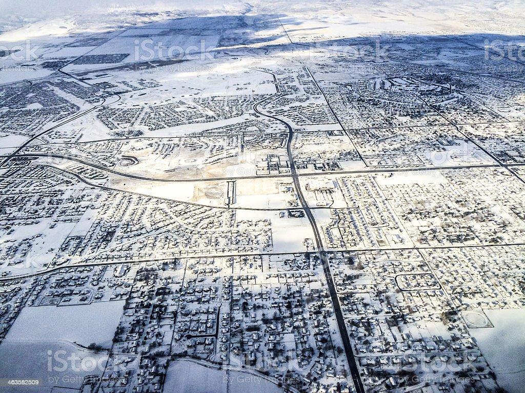 Aerial view on Salt Lake city under snow stock photo