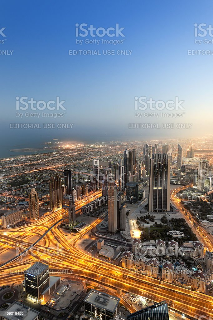Aerial view on Sheikh Zayed Road, Dubai Downtown at dawn stock photo