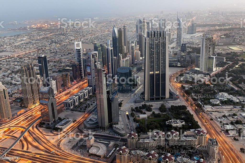 Aerial view on Sheikh Zayed Road, Dubai Downtown at dawn royalty-free stock photo