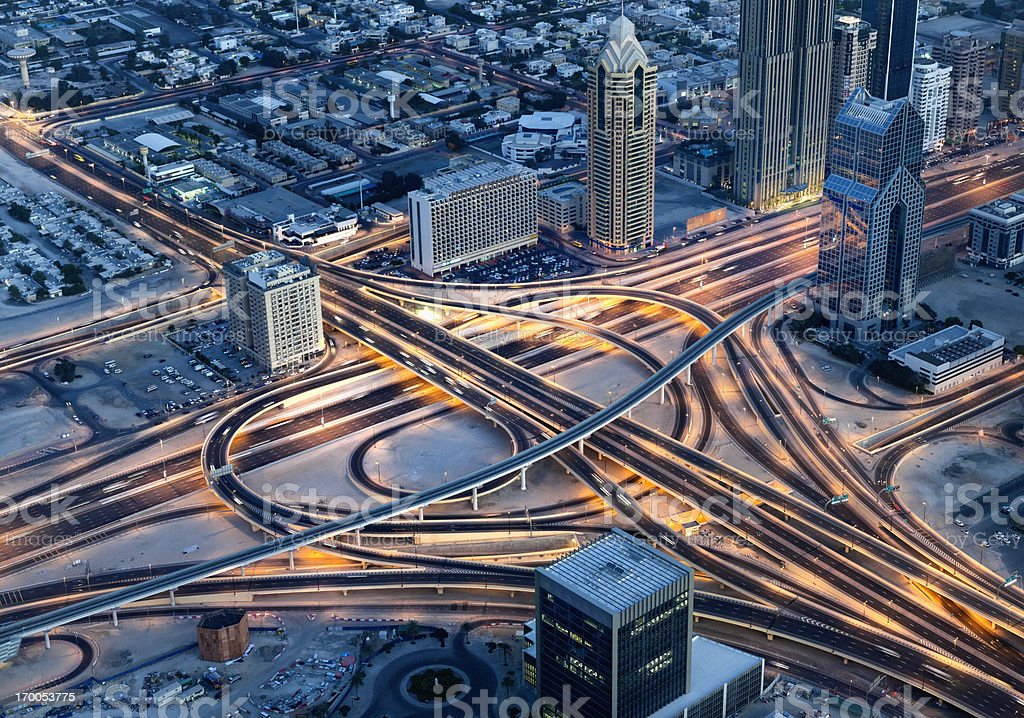 Aerial view on Sheikh Zayed Road, Dubai Downtown at night stock photo