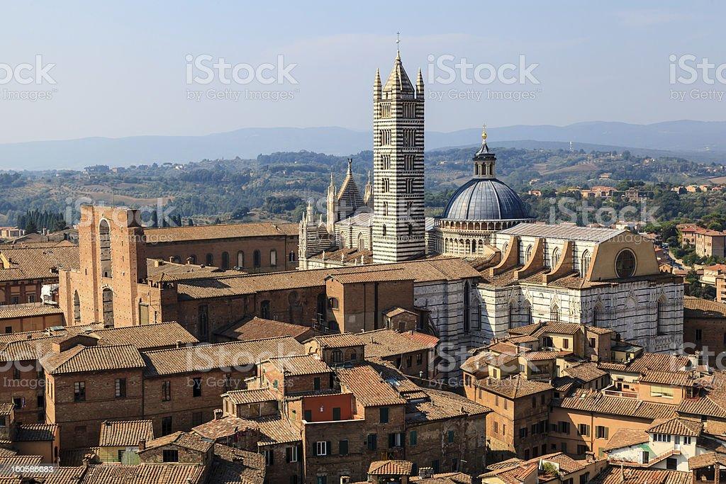 Aerial View on Siena and Santa Maria Cathedral, Tuscany, Italy royalty-free stock photo